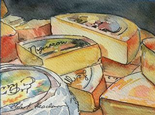 """""""Fromage Anyone?"""" (watercolor by Helen K Beacham).  Sold. 