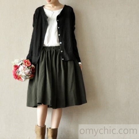 Tea green cotton pleated skirts summer a line skirts elastic waist