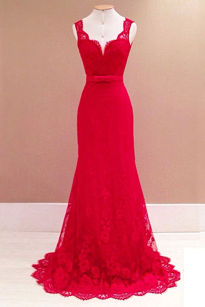 Sexy V Neck Tank Sleeveless Lace Trim Patchwork Red Lace Mermaid Floor Length Dress