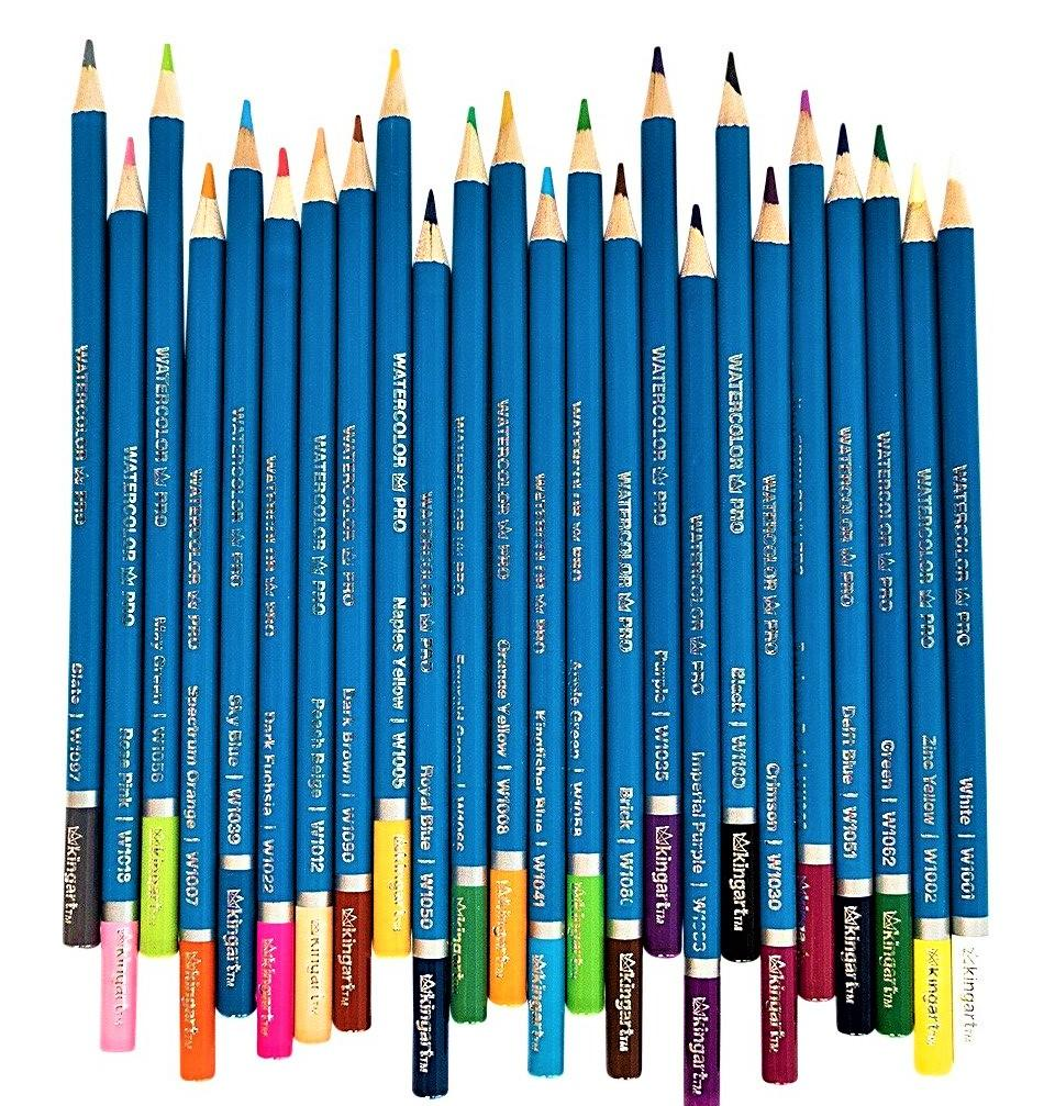 Pro Watercolor Pencils Tin Case Set Of 24 Unique Colors