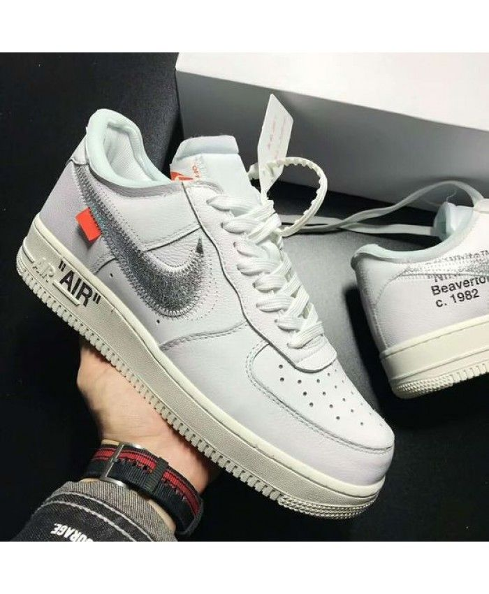 c5e9294f8766 Nike Air Force 1 Low Off White Grey Logo Shoes UK Sale
