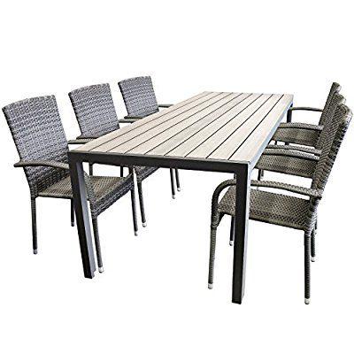 Elegante 7tlg Gartengarnitur Aluminium Polywood Non Wood 205x90cm