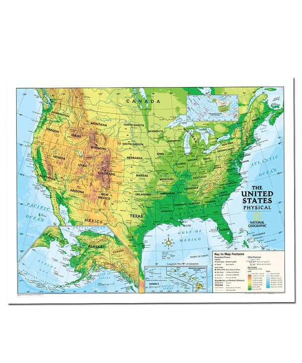 Physical Usa Kids Laminated Topographical Map National Geographic Maps Wall Maps National Geographic