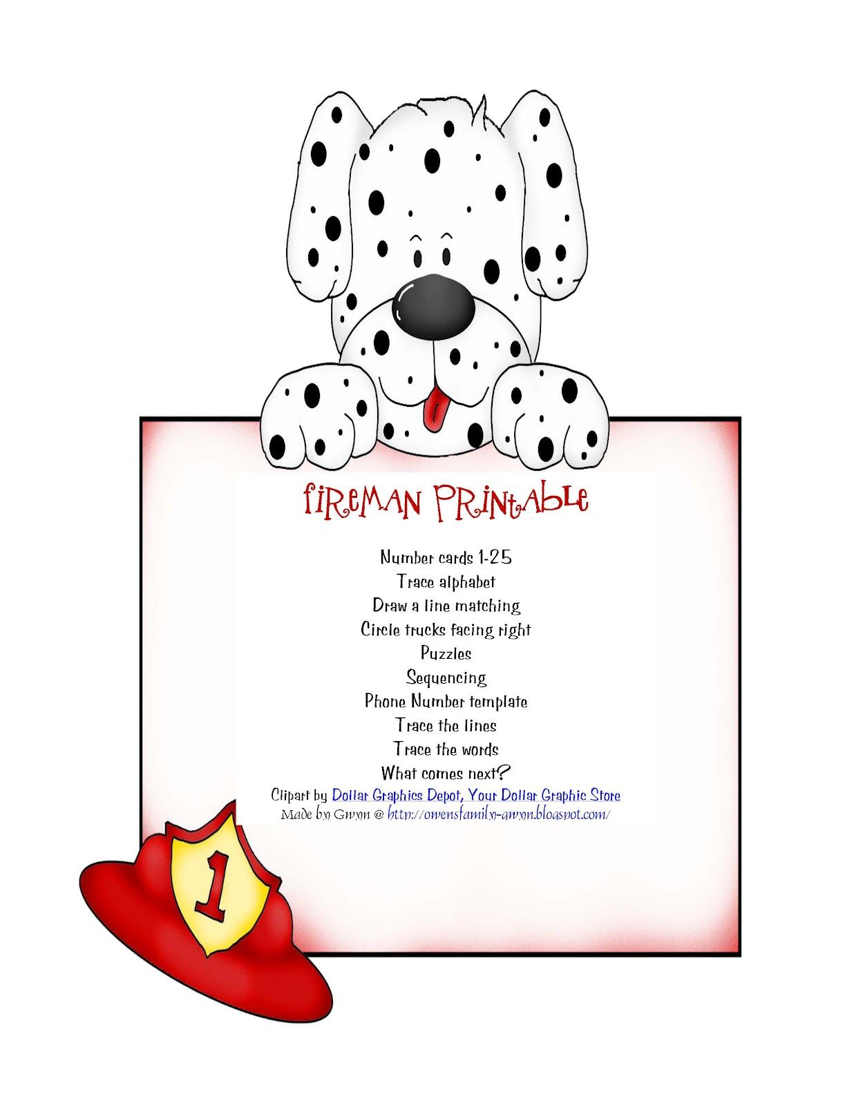 Preschool Printables Fire Dog