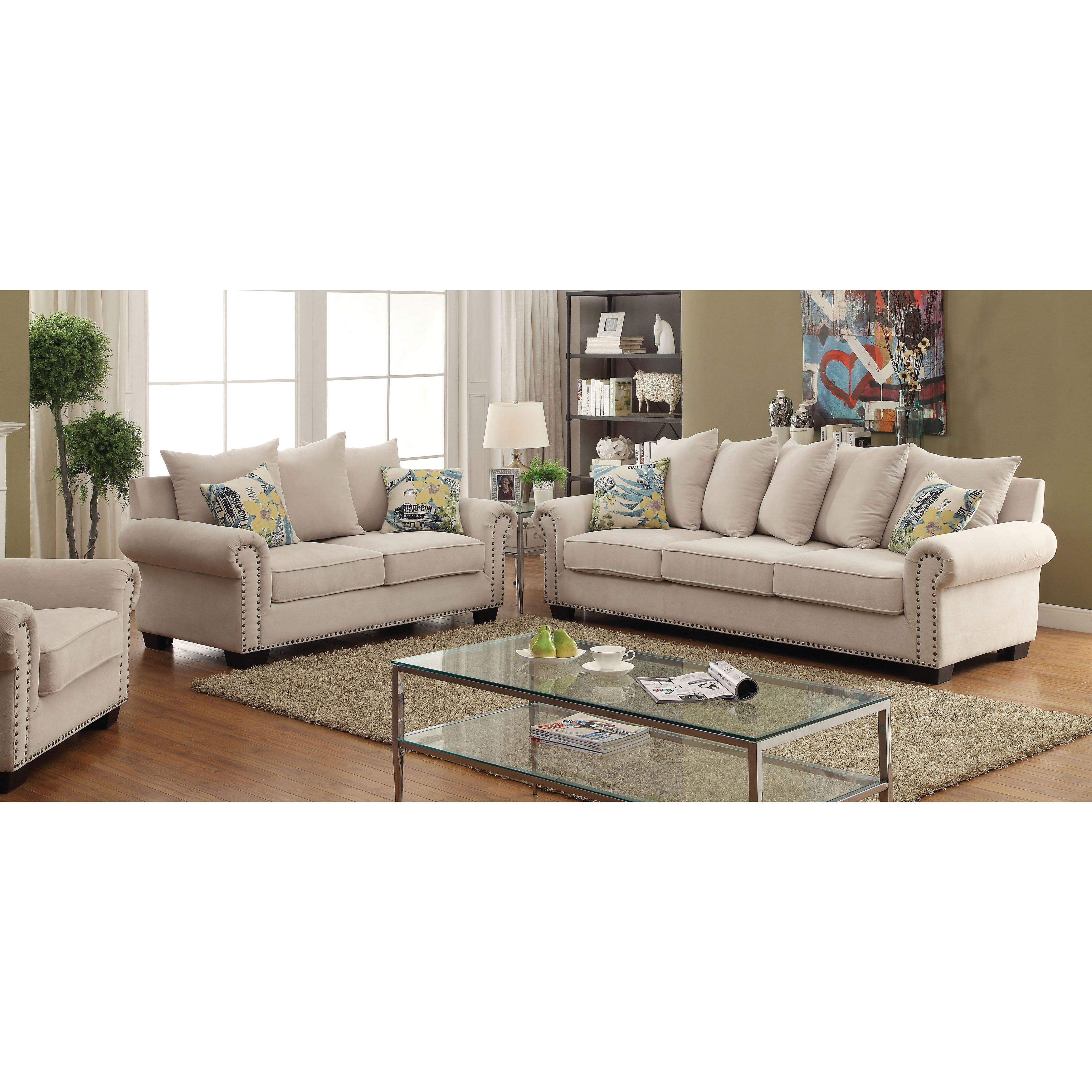 Furniture Of America Casana Transitional 3 Piece Ivory Upholstered Sofa Set Beige Off White
