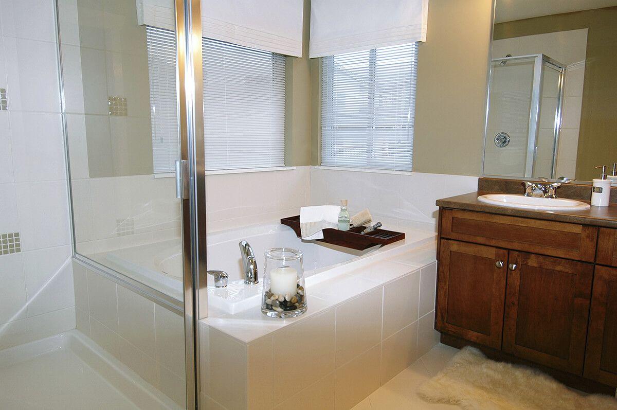 Custom Bathroom With Chestnut Vanity Set | Bathroom Ideas ...