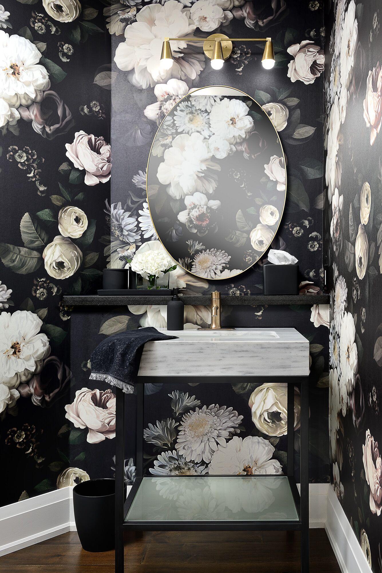 Dark Floral Wallpaper Textured Wallpaper Ellie Cashman