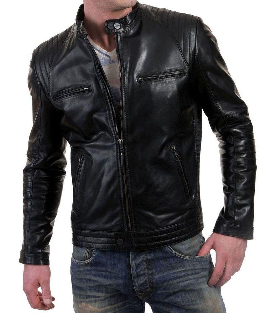 Mens Stylish Lambskin Genuine Leather Jacket 19
