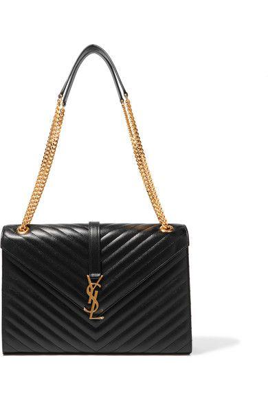 Saint Laurent - Cassandre Large Quilted Textured-leather Shoulder Bag -  Black fd9ba167b0