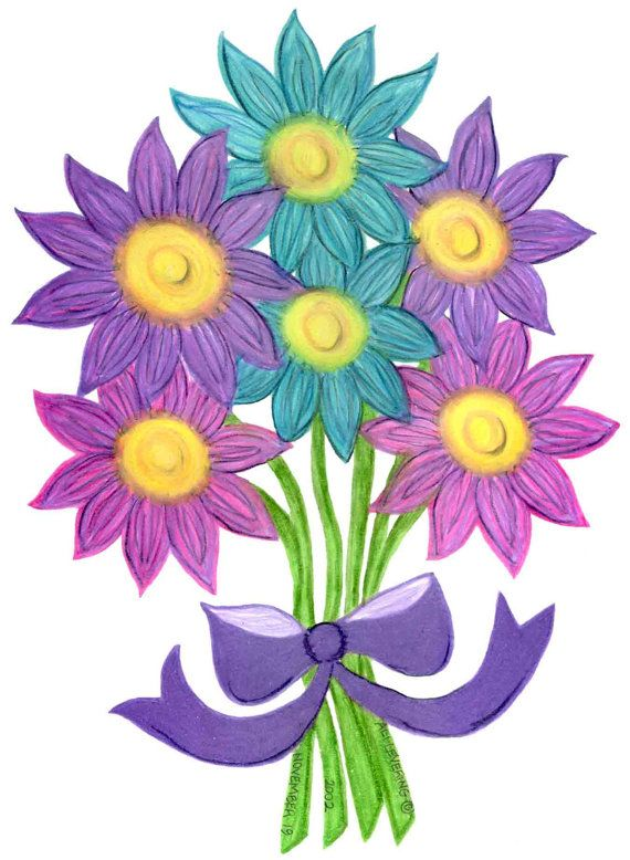 Pack of 3 Cards-Pink, Purple, Aqua Flower Bouquet Drawing Small ...