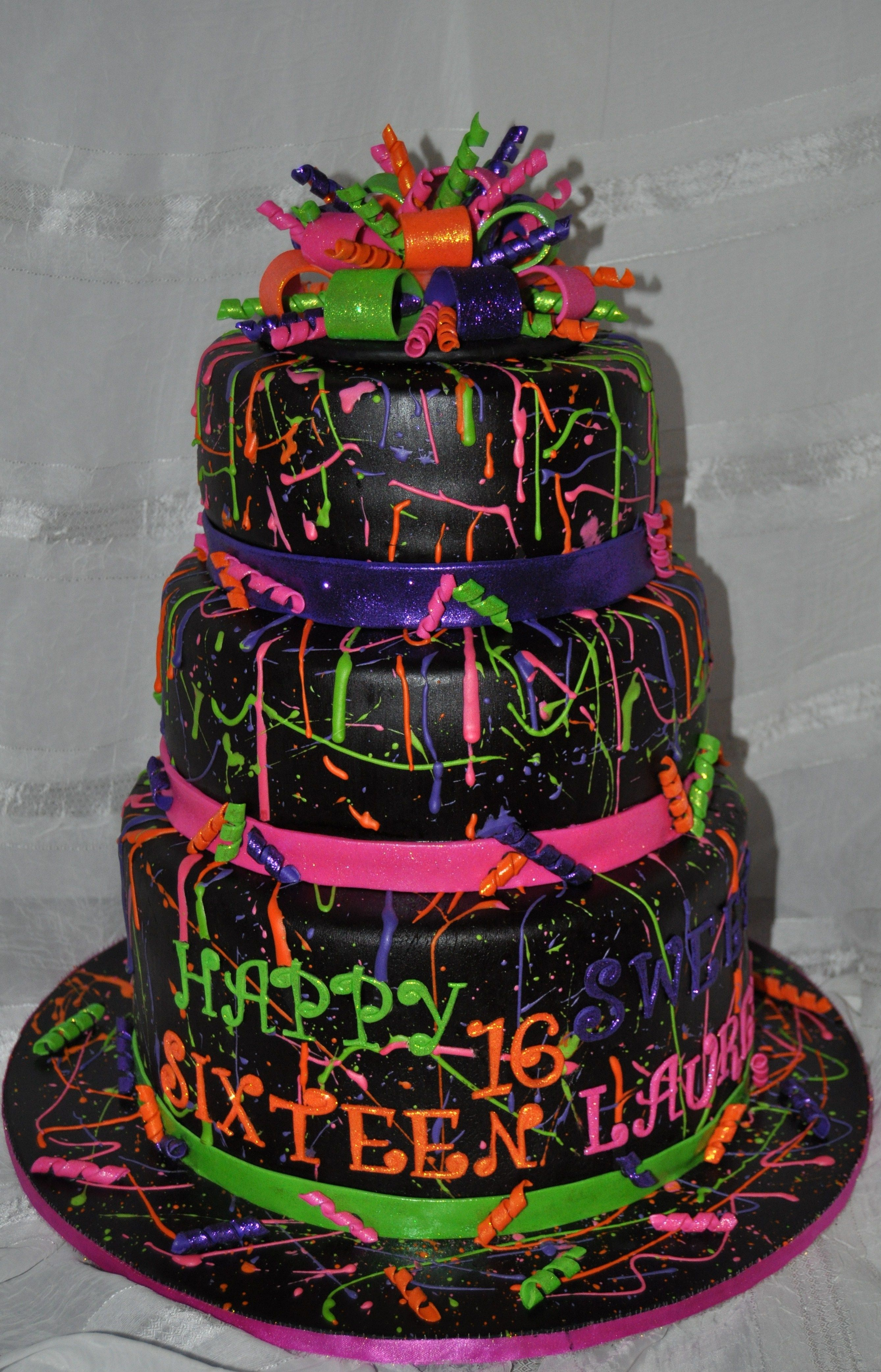 Neon Paint Splatter Cake Neon Paint Splattered Cake With