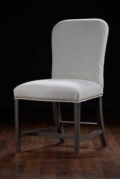 Brixham Dining Chair with Exposed Wood Legs and Stretcher Upholstered in Alabaster Woven Fabric Small Nickel Nails and Smoke Finish  Also Available in Other Fabrics