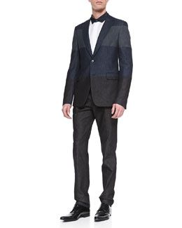16a50f2e7974d -4VLT Valentino Colorblock Denim Sport Coat, Denim Pleated-Front Pants &  Denim-Trimmed Long-Sleeve Shirt
