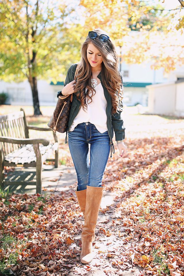 bomber jacket  // Hudson jeans  // Sam Edelman over-the-knee boots  // white cami   Louis Vuitton Neverfull (borrowed from my mo...
