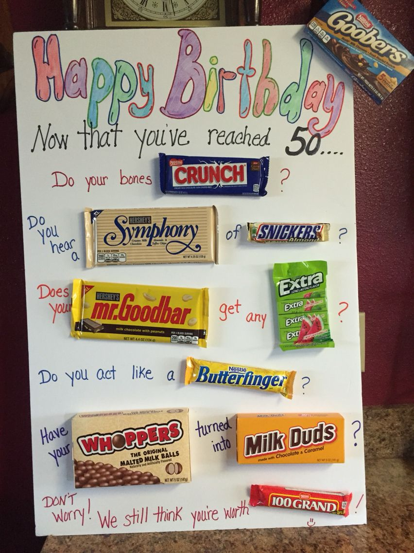 Extra Large 50th Birthday Card With Removable Candy Bars