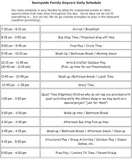 Daily daycare schedule sample schedules pinterest daycare daily daycare schedule pronofoot35fo Choice Image