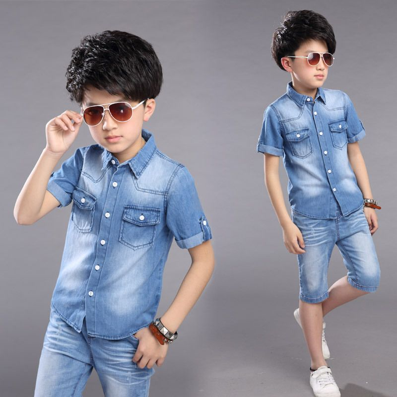 Boys Clothing Sets Denim Jeans Jackets For Kids Short Sleeve Shirts Pants 2pcs Summer Boys Clothes Den Boy Outfits Boys Summer Outfits Childrens Clothes Boys