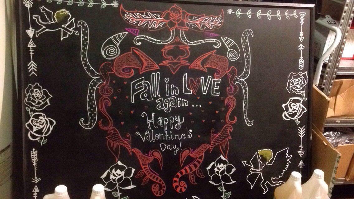 Valentines Starbucks community board I designed ✏️ #starbucks #tobeapartner #art