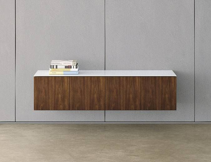 Flow Wall Hung Floating Credenza With Glass Top Nucraft