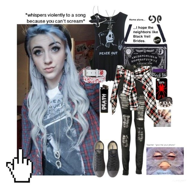 """""""Untitled #133"""" by rougewolf ❤ liked on Polyvore featuring Boohoo, Converse and Bling Jewelry"""
