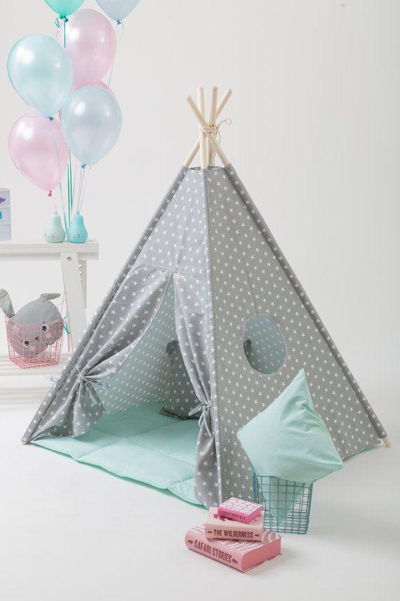 Grey stars kids teepee play tent with a padded floor by WigiWama