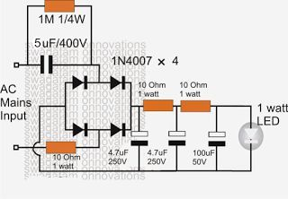 Simplest 1 Watt LED Driver Circuit at 220V/110V Mains