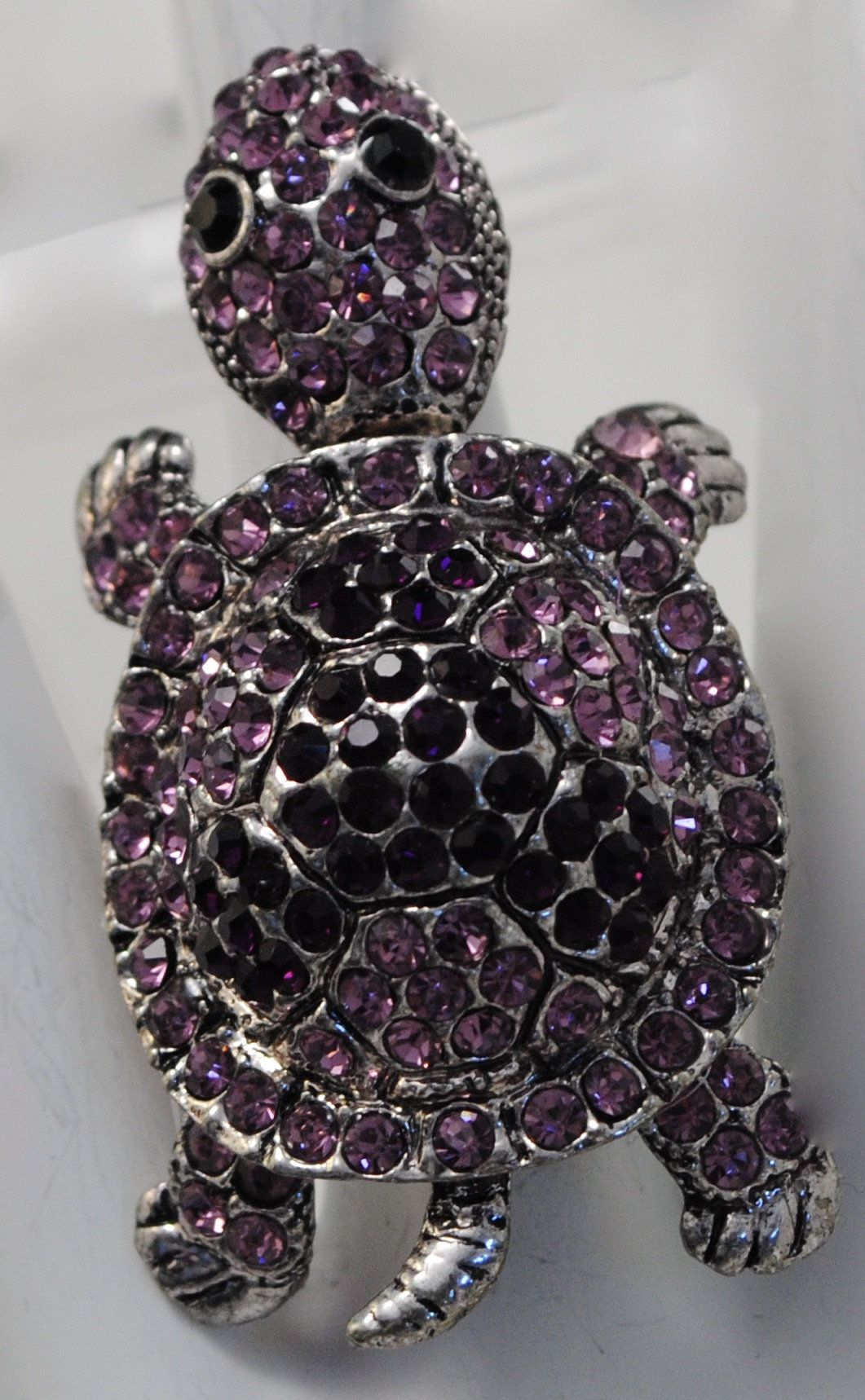 Turtle Ring with Pink and Purple Rhinestones,Moveable Head