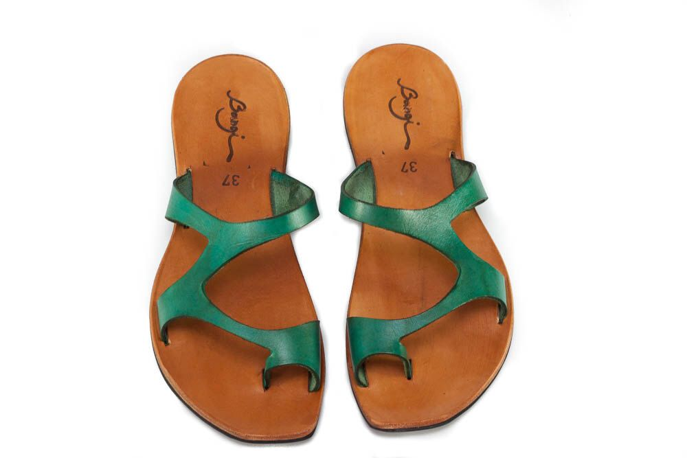 Free Shipping,  Green Leather Sandals, Green Sandals, Asymmetric Sandals, Summer Shoes, Flat Sandals by BangiShop on Etsy https://www.etsy.com/listing/193423876/free-shipping-green-leather-sandals