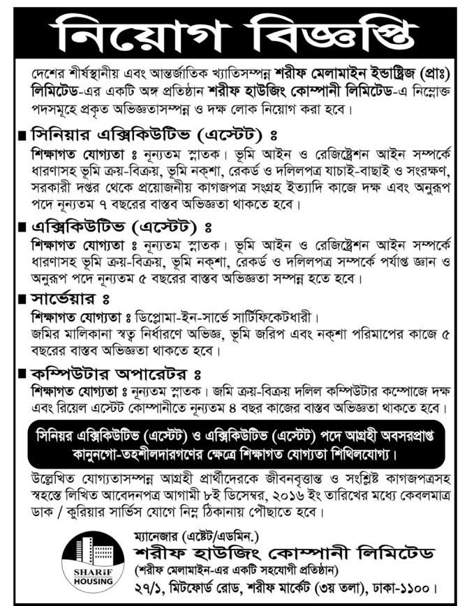 Sharif Housing Company Limited Job Circular  Job Circular