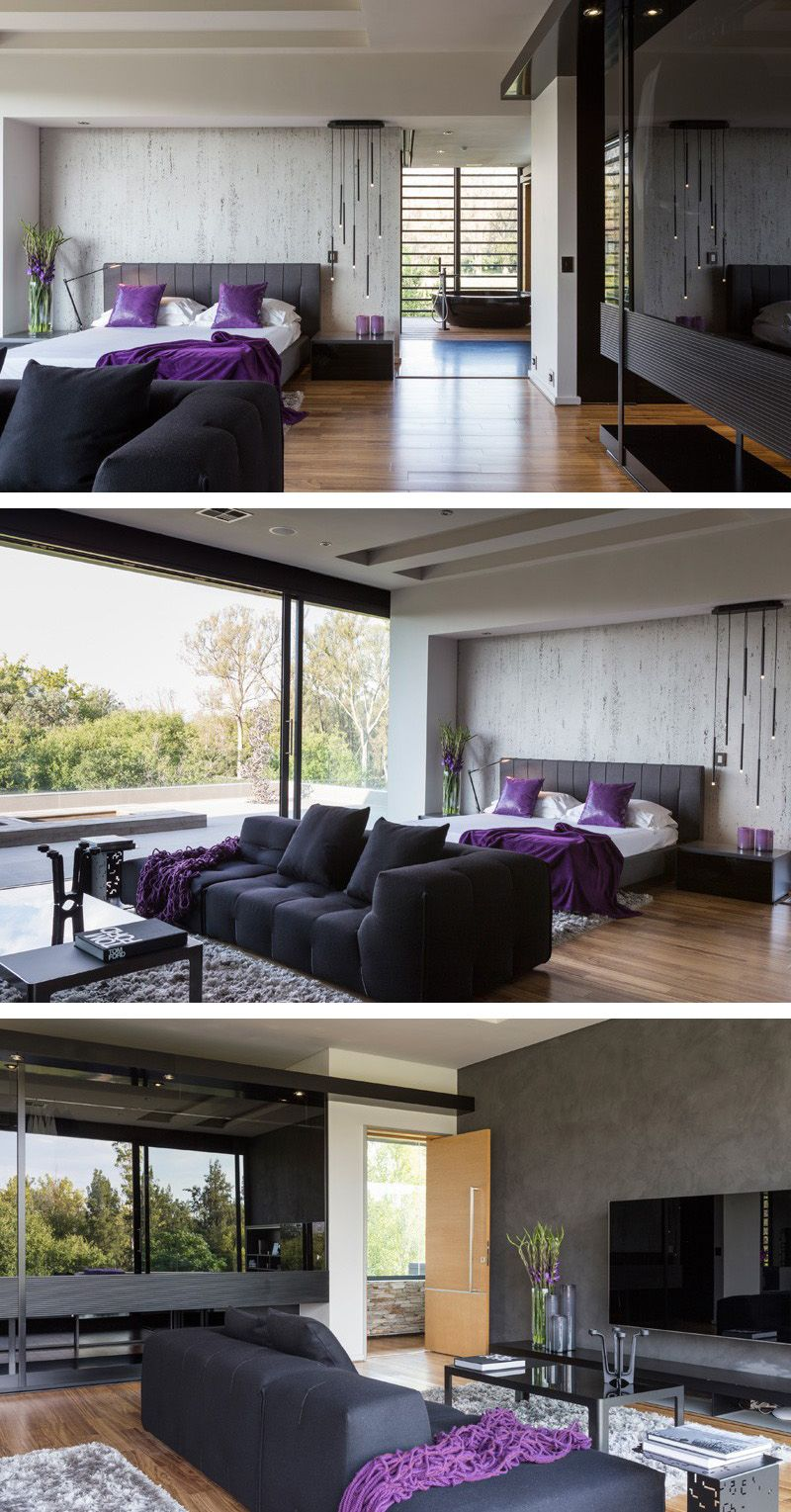 A Contemporary Bedroom With A Hint Of Purple.. N I dont like this ...