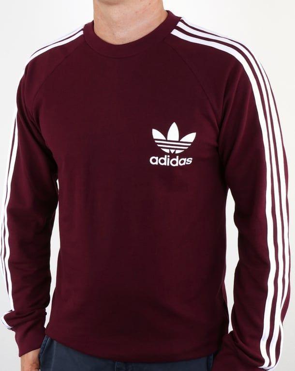 Adidas Originals Long Sleeve Pique T Shirt Maroon,tee,mens