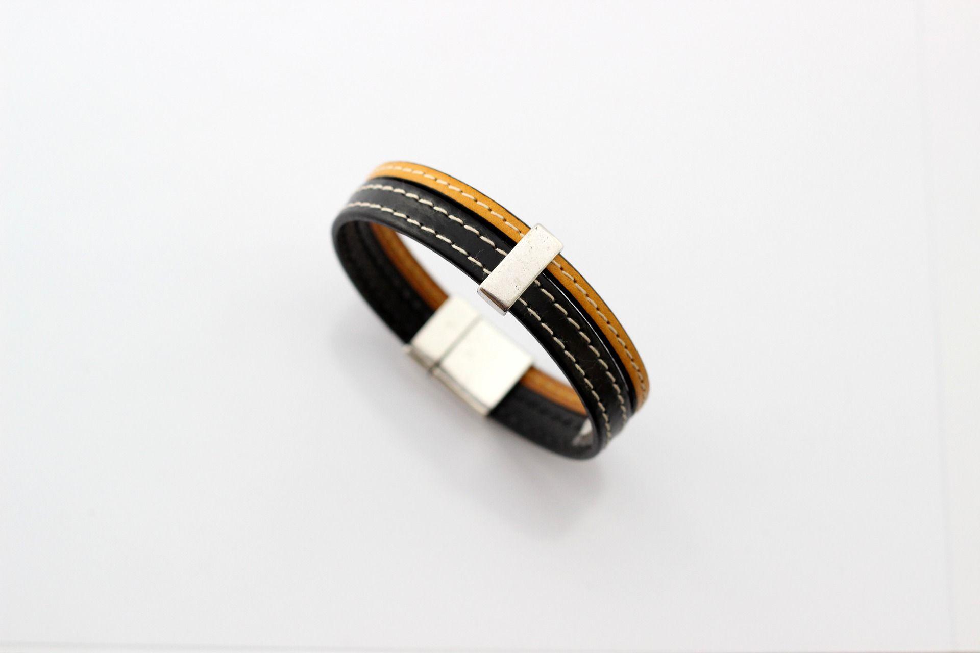 Jaune Et Noir Bracelet Cousus Passant Cuirs Étaintaille Homme nPwk0O