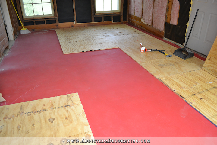Breakfast Room Progress Plywood Subfloor Installed Over Concrete