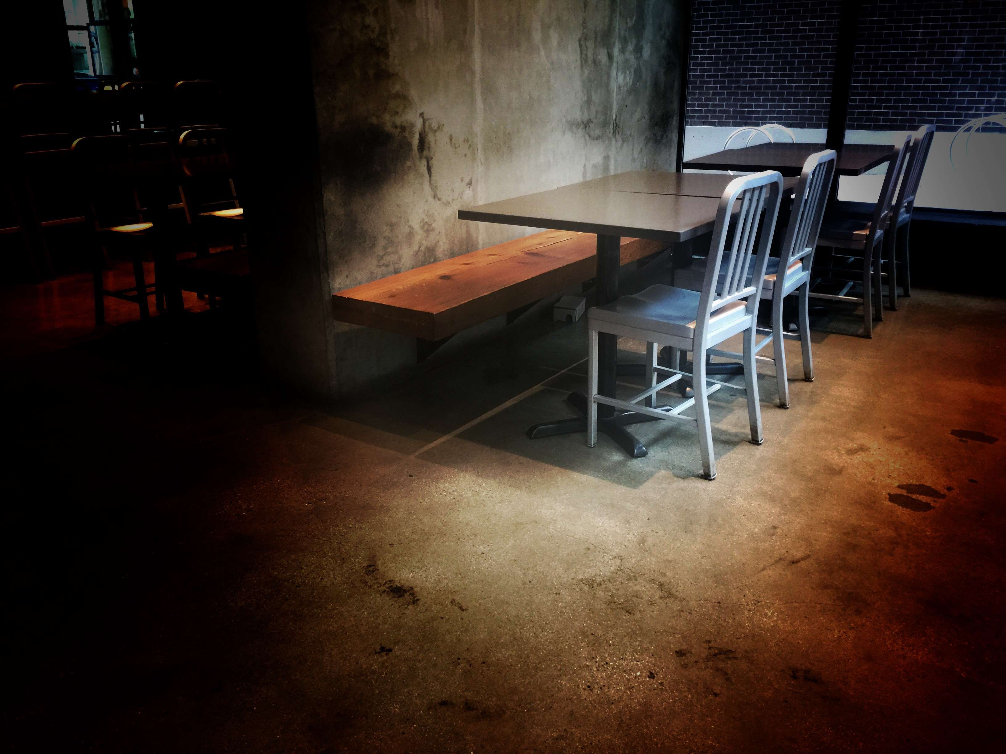coffee shop #horror #metal chairs #rustic #scary