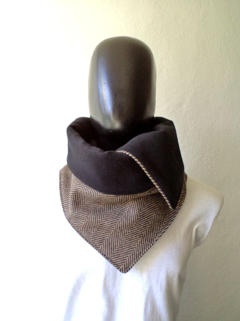 men scarf  men cowl  extra wide  herringbone wool 100   trendy  modern  chunky and cozy    32 50