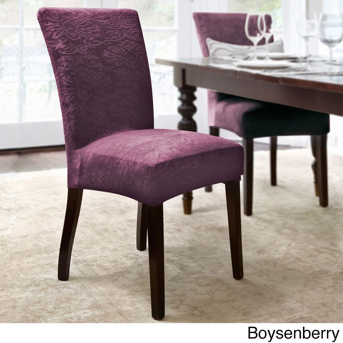 Dining Chair Covers Velvet Wedding Loughborough Quickcover Damask Embossed Stretch 1 Piece Slipcover Boysenberry Purple Design