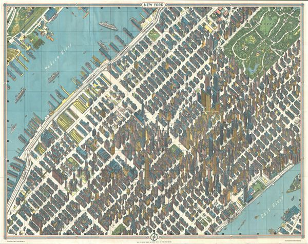 1963 Bollmann View And Map Of New York City Midtown