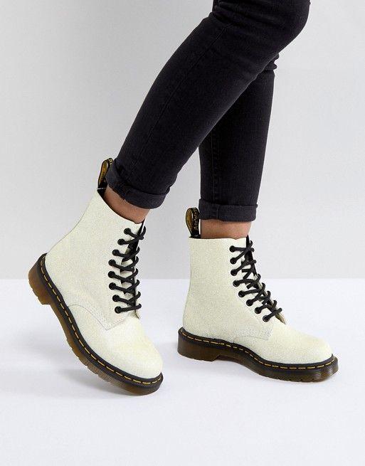 new concept 96eaa 053a1 Dr Martens Pascal Boot in White Glitter Witte Schoenen, Lederen Schoenen,  Veterlaarzen, Enkellaarzen