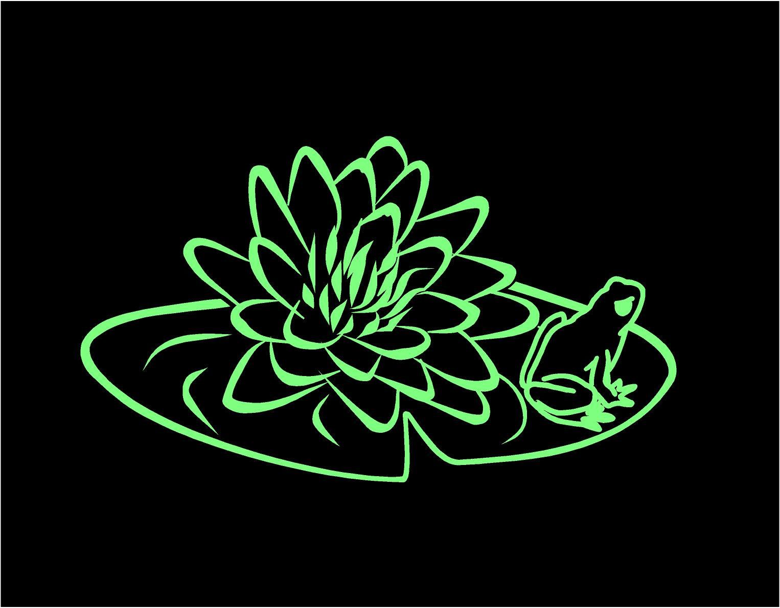Lily Pad Frog Decal Floral Decal Lily Pad Decal Frog Decal Custom - Flower custom vinyl decals for car