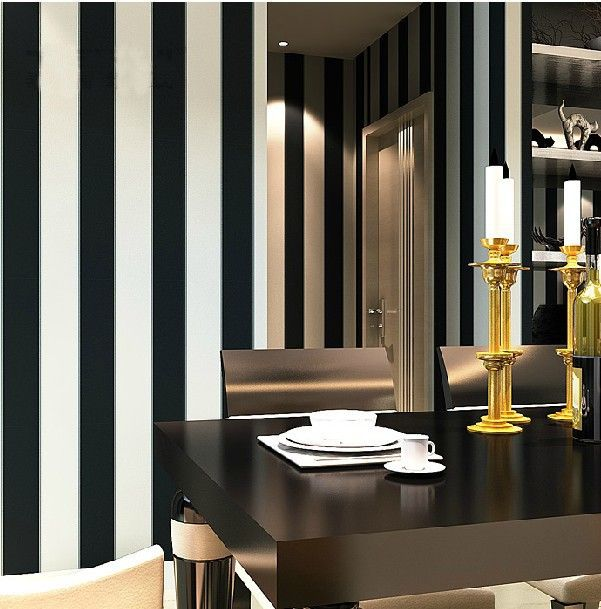 Room Free Zebra Modern Brief Vertical Black White Stripe Wallpapers