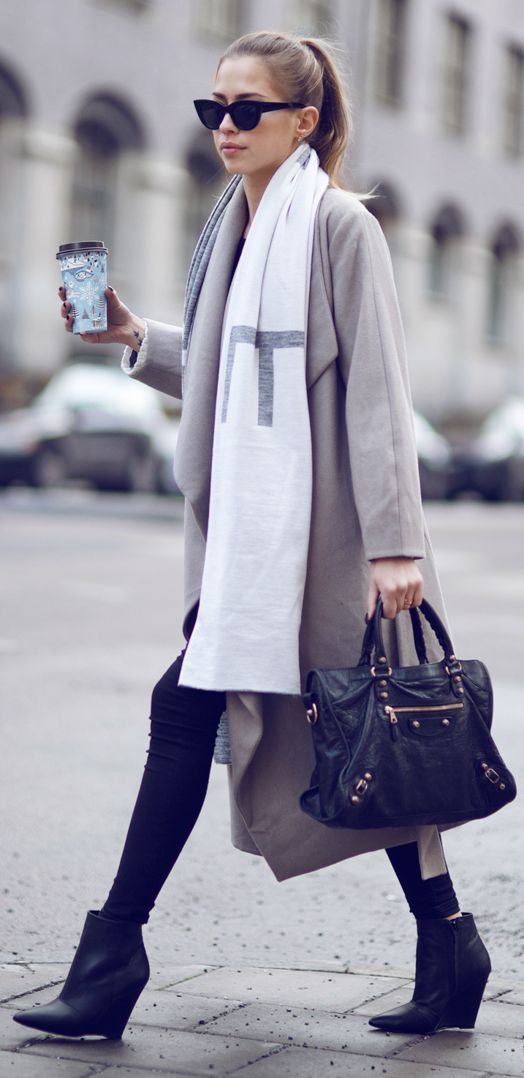 White And Grey Geo Print Scarf by Kenzas