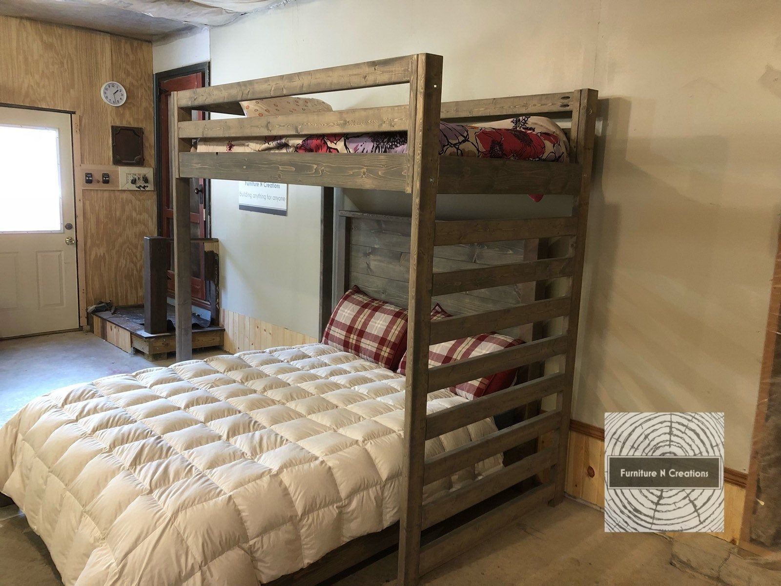 Twin Loft Bed Over Full Or Queen Bed Guest Room Shared Etsy Twin Loft Bed Diy Bunk Bed Bunk Bed Plans