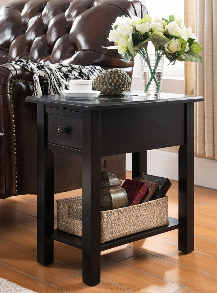 Contemporary Black Side Table With Storage Drawer And Charging Station USB  Ports