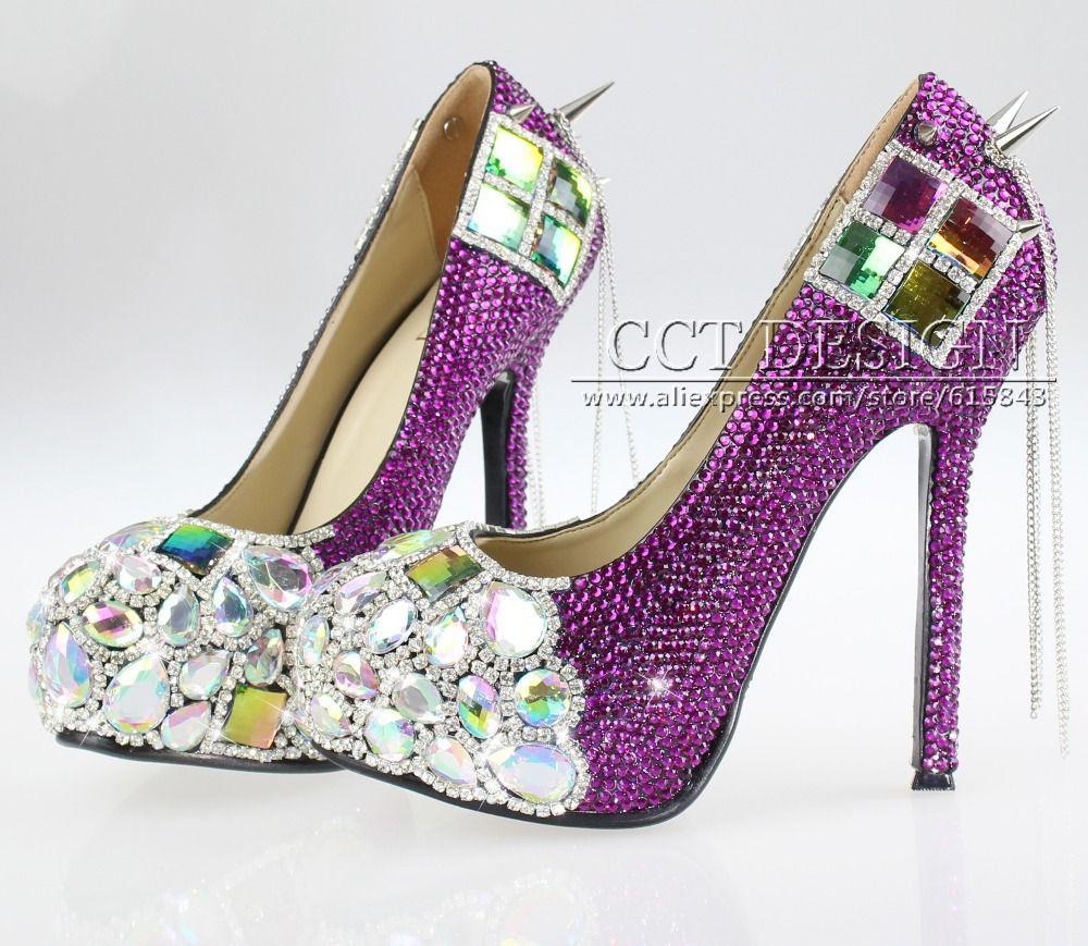 Click to Buy ucuc new design purple rhinestone wedding shoes rainbow