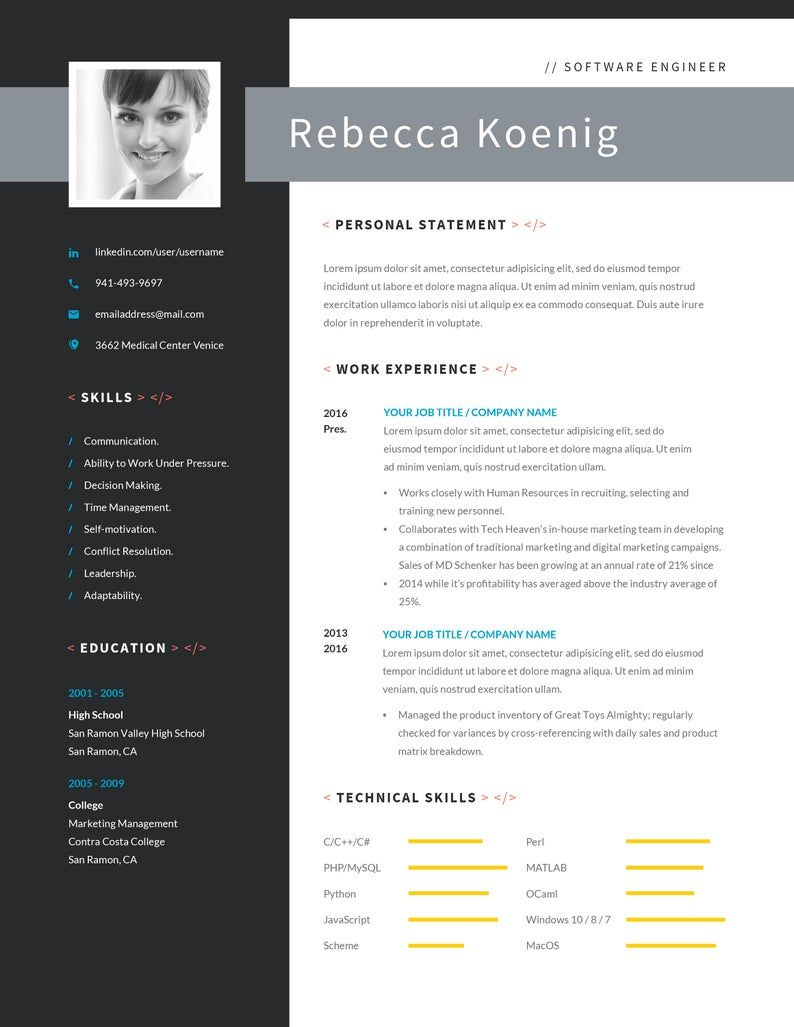 Software Engineer Resume Template with Photo and Cover