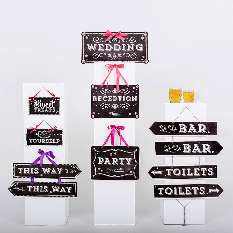 Set Of Eleven Urban Chalk Wedding Signs