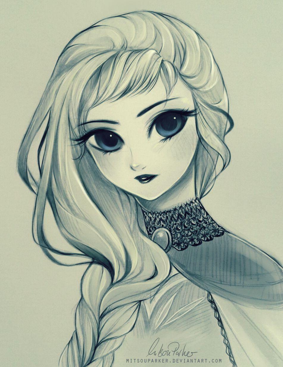 "Elsa from ""Frozen"" - Art by mitsouparker.tumblr.com"