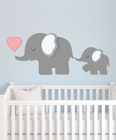 Mom Baby Elephant Wall Decal Set By