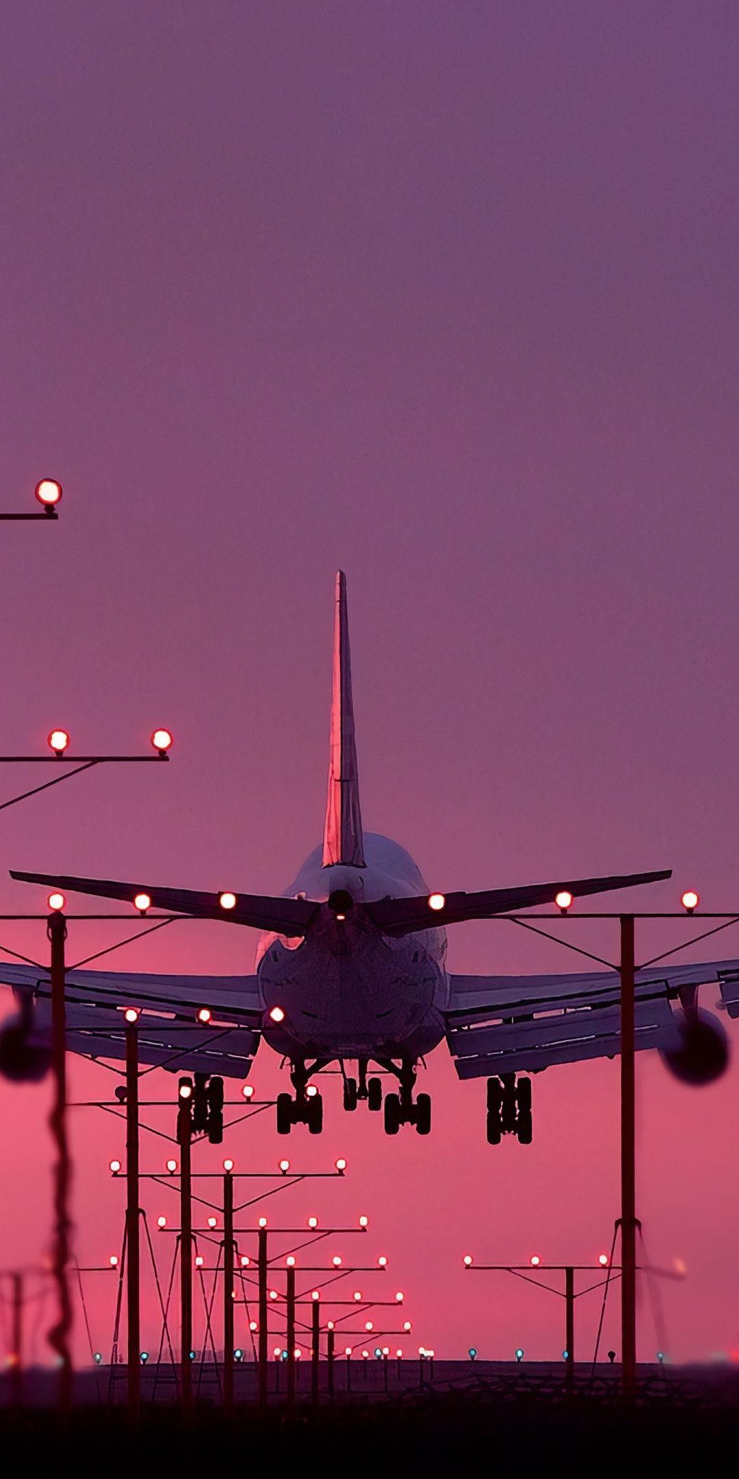 Aircraft, landing, sunset, 1080x2160 wallpaper