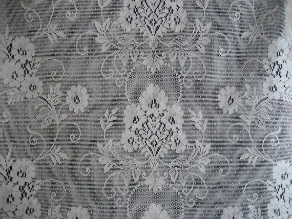 Vintage  PAIR  (2)  Lace Curtain Panels - 62 Long - Eggshell White -  Made in U.S.A.